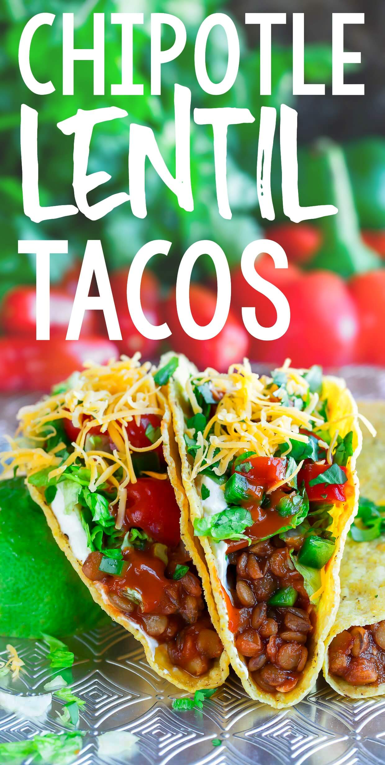 Chipotle Lentil Tacos turn this tasty vegetarian swap into an instant taco party! They're packed with protein, have literally half the fat of their meaty counterparts, and totally delicious too. Let's get our taco on!