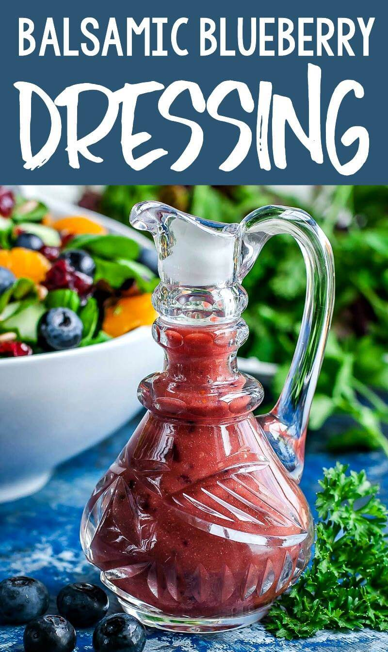 This Balsamic Blueberry Salad Dressing is ready to shake up your Spring and Summer salad game! You'll want to pour this fruity blueberry dressing on salads all season long! #blueberry #blueberries #vegetarian #dressing #saladdressing #balsamic #healthy