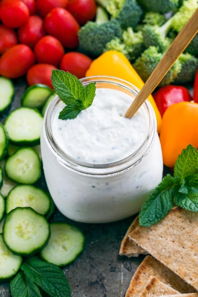 Easy Tzatziki Sauce with fresh veggies and pita bread