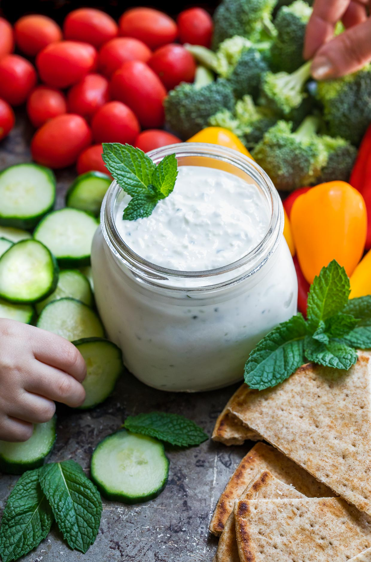 Easy Tzatziki Sauce with vegetables and pita dip shot