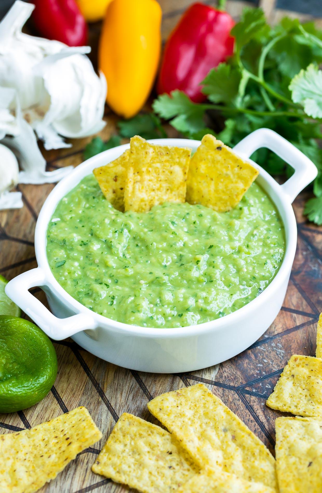 Avocado Salsa Verde Dip with tortilla chips