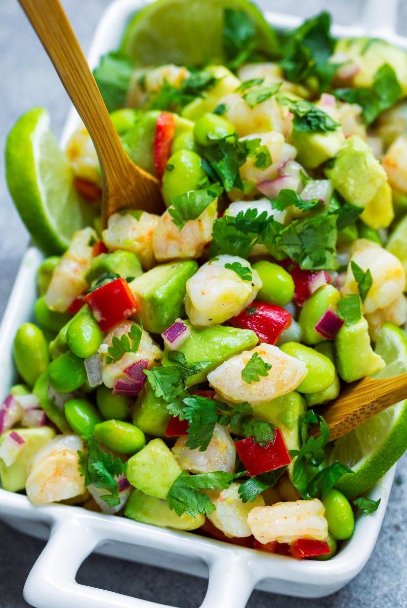 Cilantro Lime Avocado Shrimp Salad Close-Up