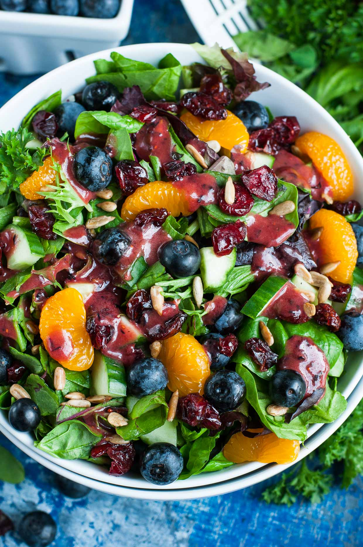 Balsamic Blueberry Salad Dressing on Salad
