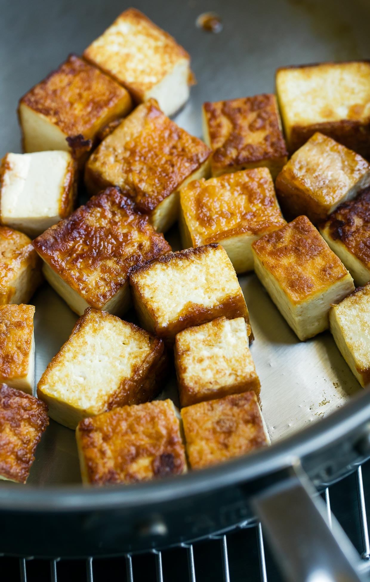 pan fried tofu process shot