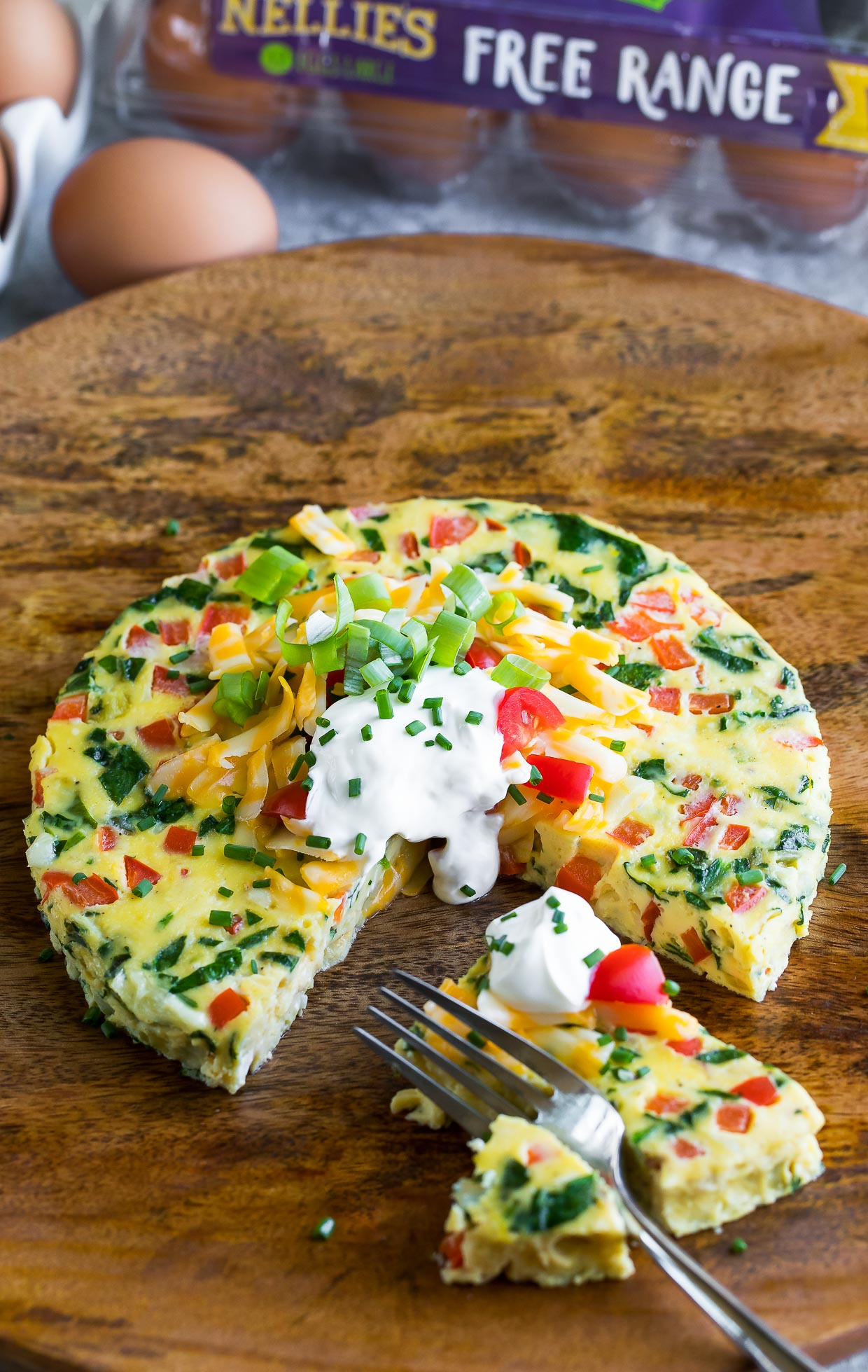 Instant Pot Frittata Breakfast Casserole action shot with Nellie's Free Range Eggs