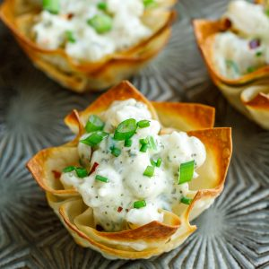 Pesto Shrimp Wonton Cups