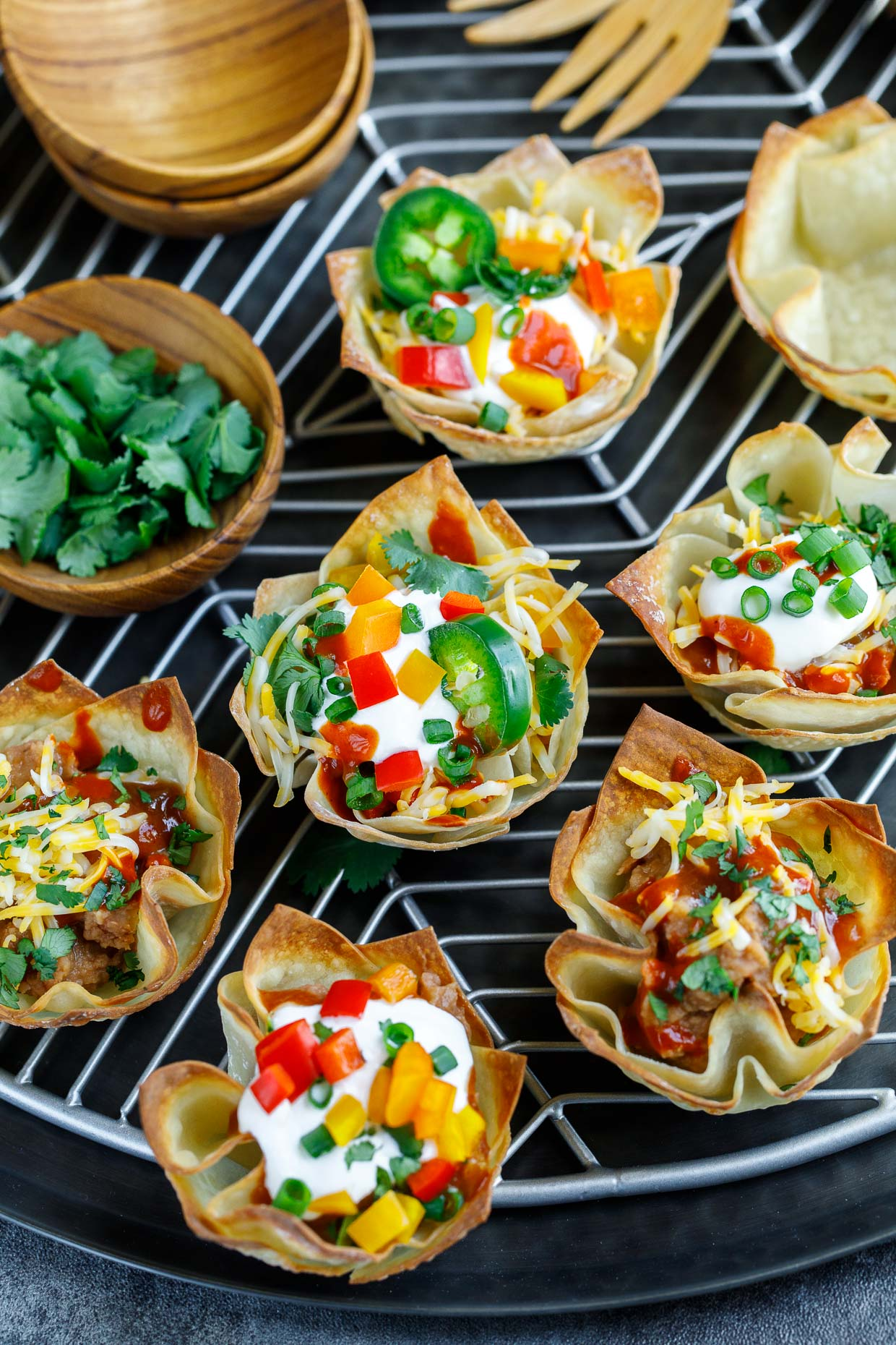 Vegetarian Wonton Taco Cups with Toppings