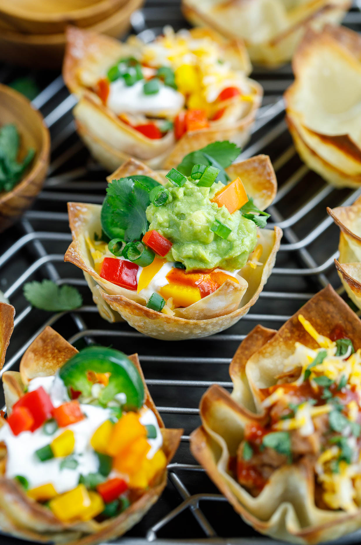 Vegetarian Wonton Taco Cups with Guacamole