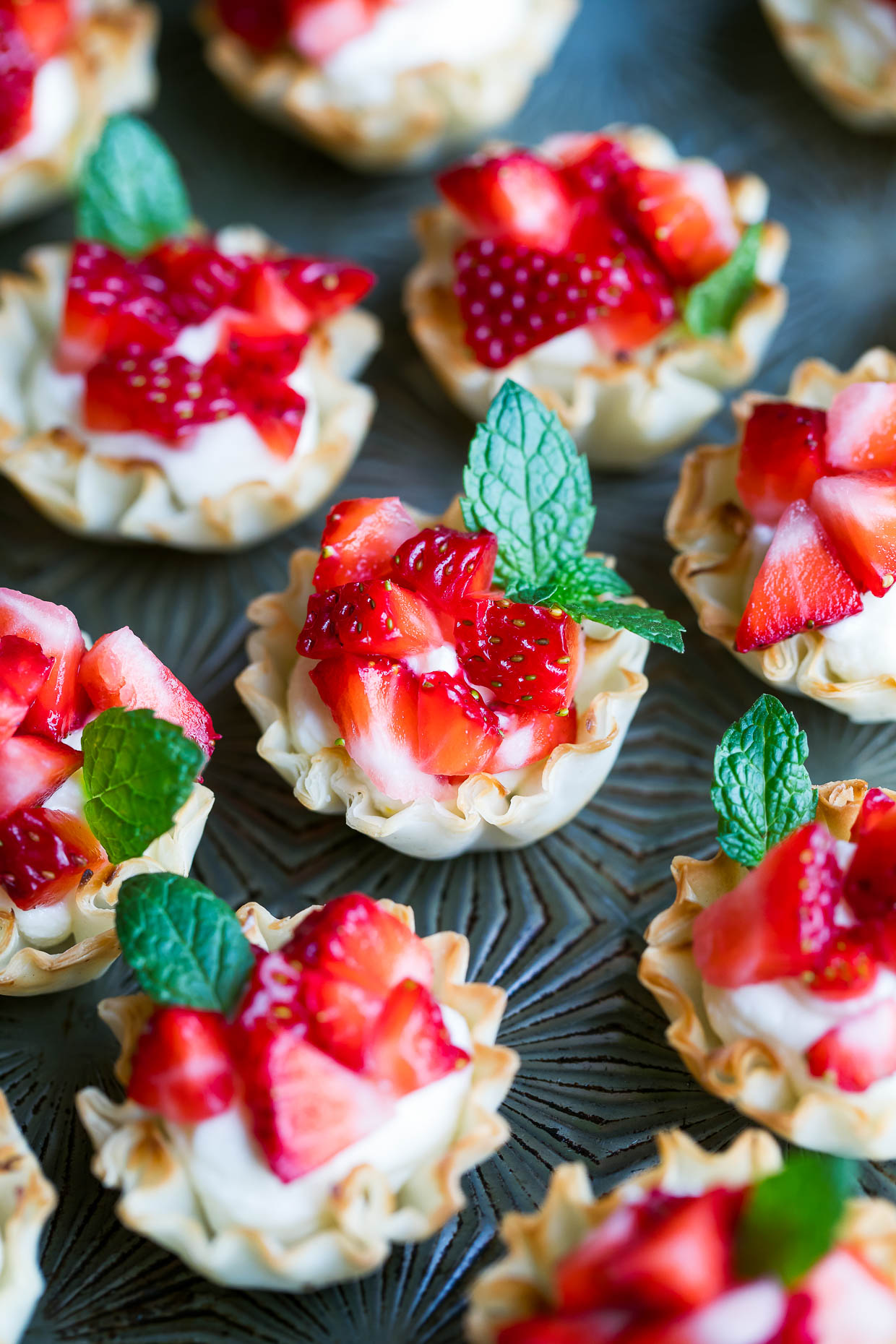 Whipped Feta Strawberry Phyllo Cups
