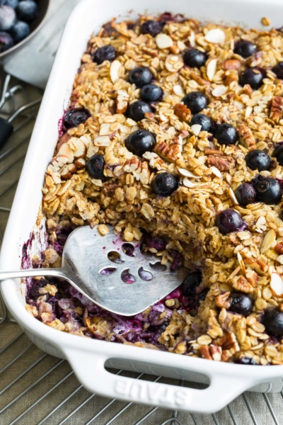 Blueberry Baked Oatmeal Action Shot