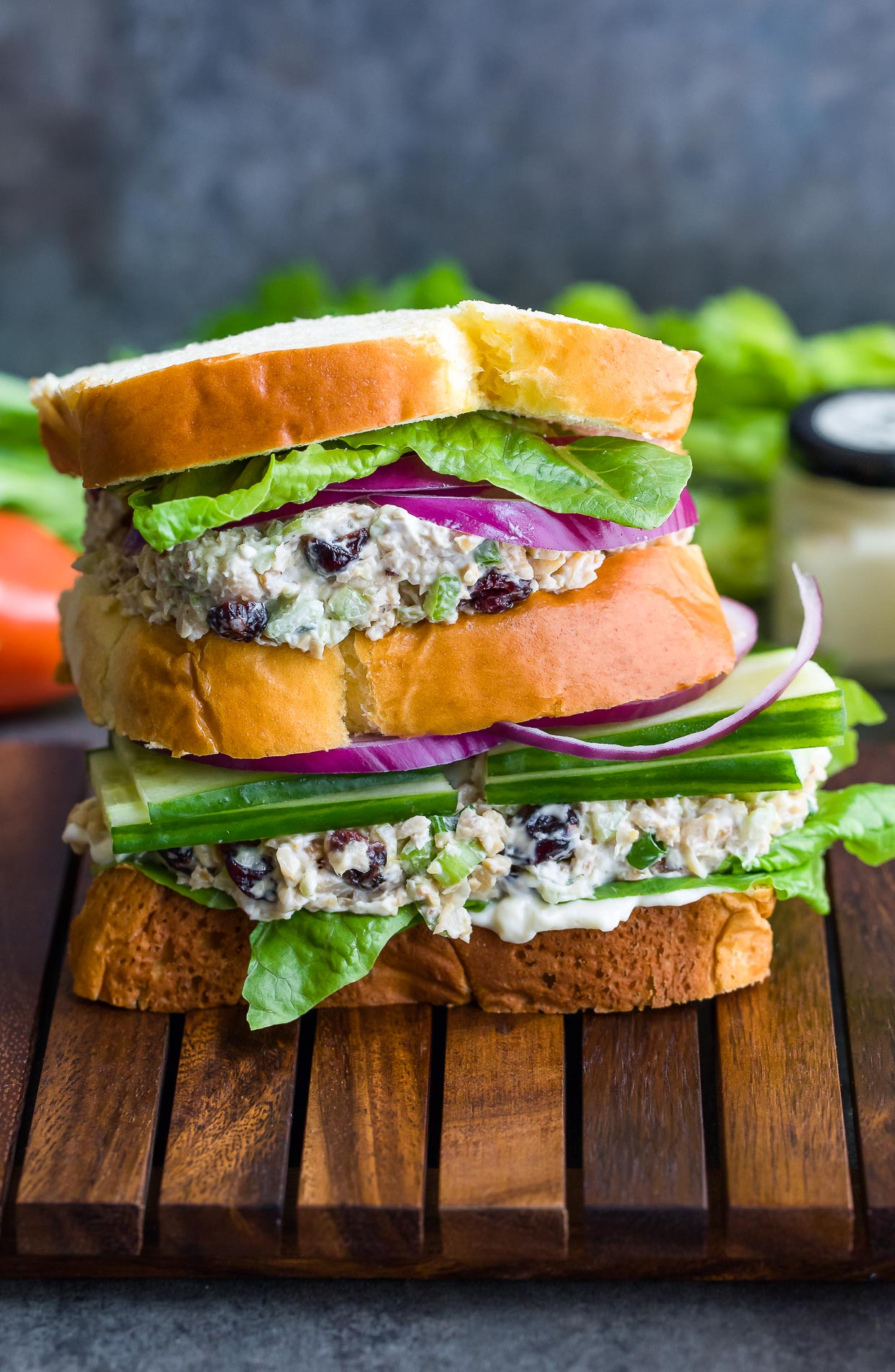 Mashed Cranberry Walnut Chickpea Salad Sandwiches