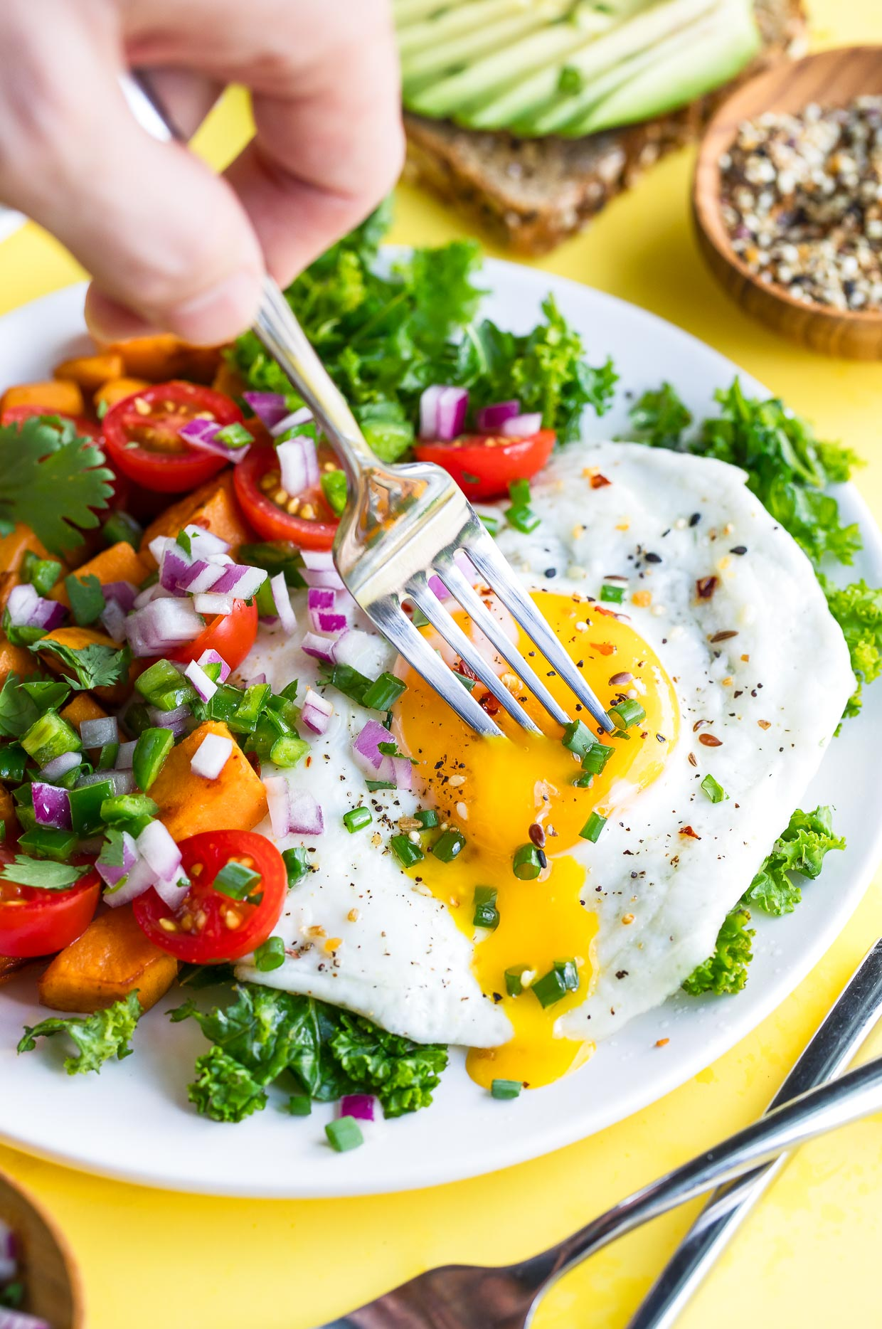 Breakfast Salad with Fried Eggs and Sweet Potato