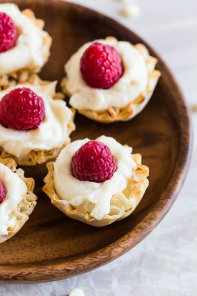 No Bake White Chocolate Cheesecake Phyllo Bites with Raspberries