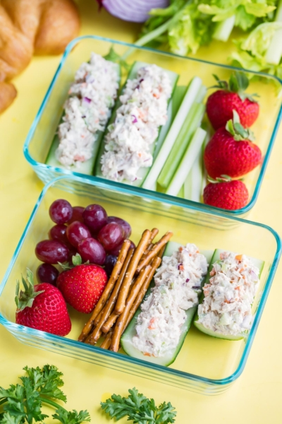 Tuna Salad Cucumber Boats Lunch Box Recipe