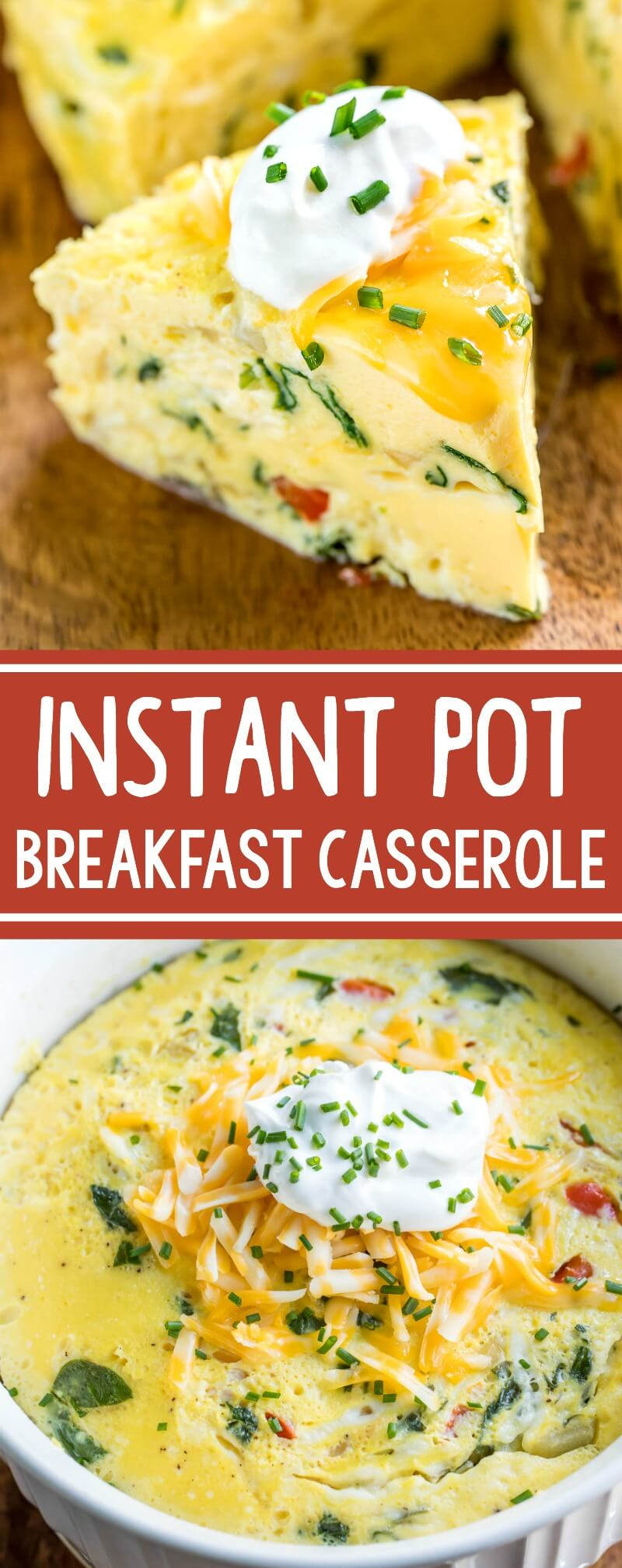 This Instant Pot Breakfast Casserole is basically the deep-dish crust-less quiche of my dreams! Serve it up for breakfast, brunch, or brinner and feel free to make it in advance - it's great the following day! #instantpot #pressurecooker #breakfast #casserole #eggs #vegetarian