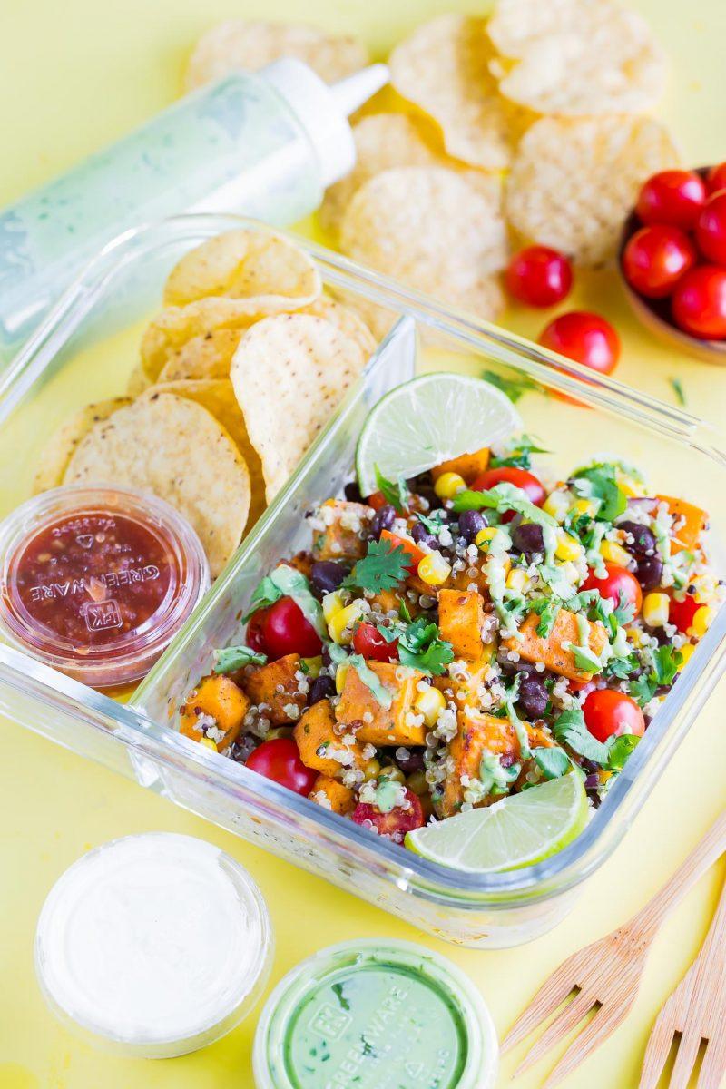 Vegetarian Black Bean Quinoa Salad Lunch Box