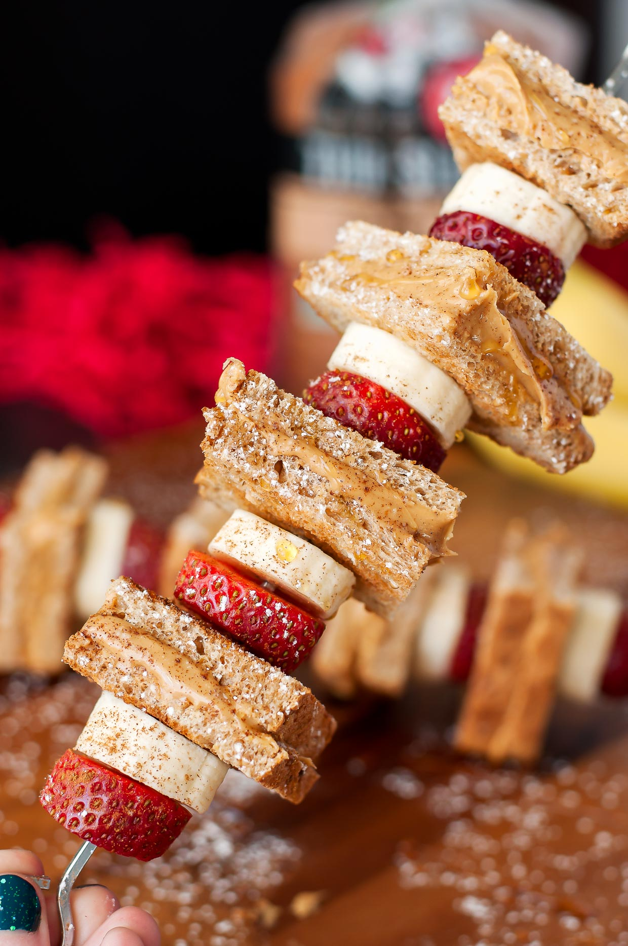 Strawberry Banana Peanut Butter Toast on a Stick