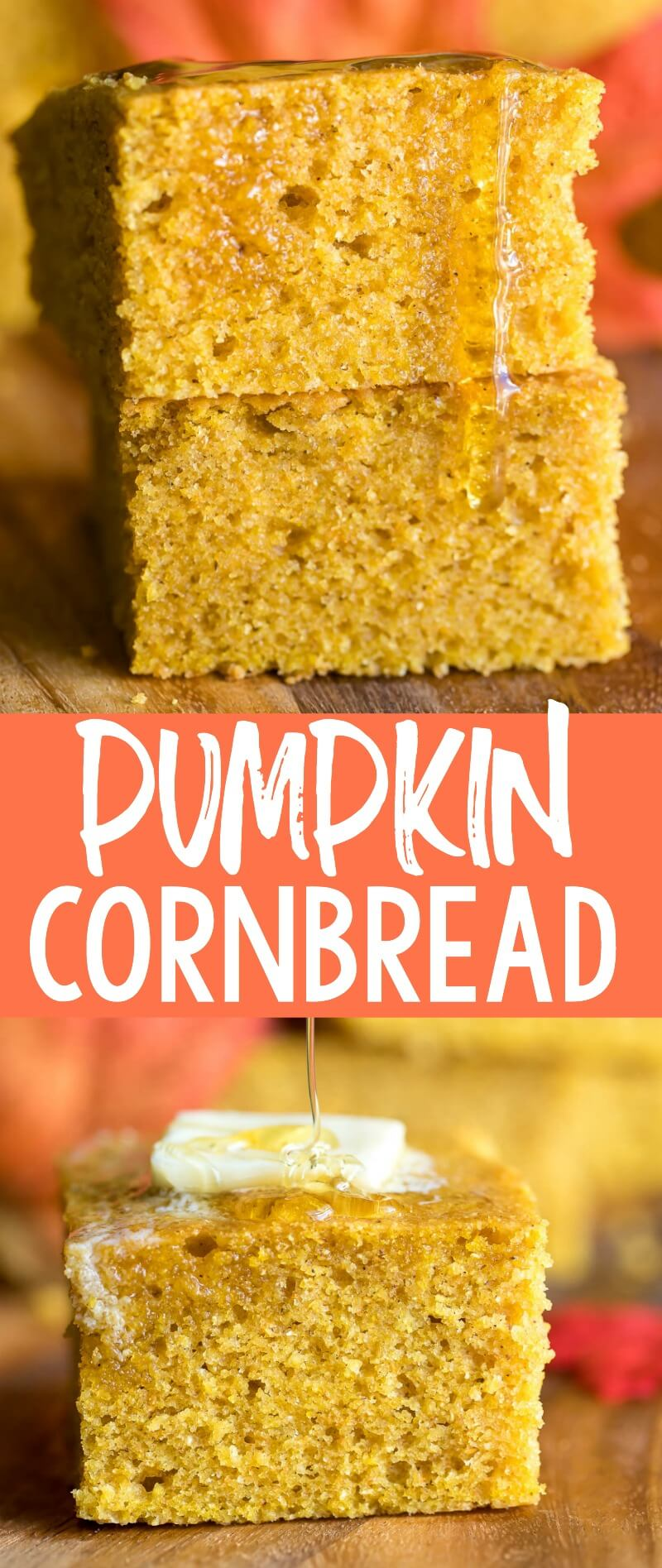 Fluffy homemade Pumpkin Cornbread kissed with a tasty blend of brown butter, pumpkin, and pumpkin spice. #pumpkin #pumpkinspice #cornbread #brownbutter #comfortfood #fall #vegetarian