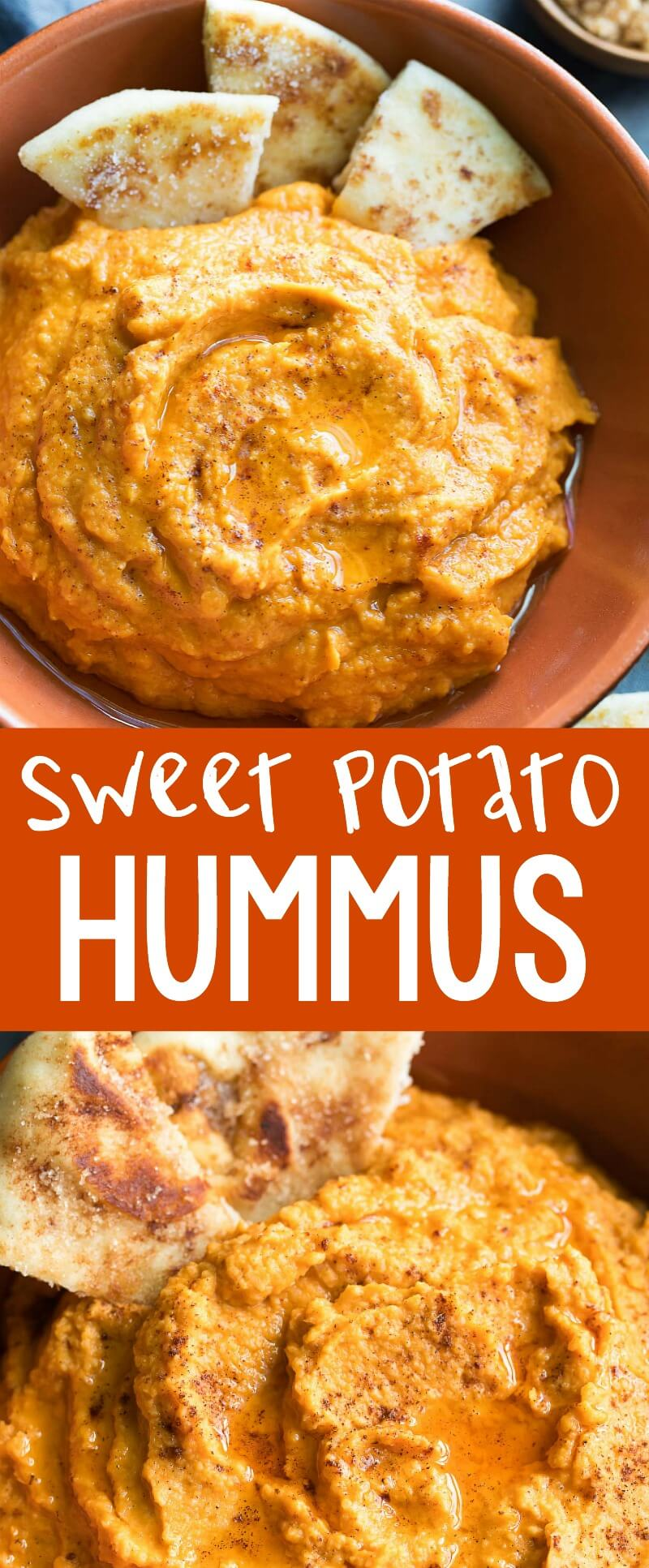 Sweet Potato Hummus kissed with pumpkin spice seasoning and served with the most amazing cinnamon sugar flatbread dippers. We're pretty excited to eat this sweet and savory hummus all Fall long! #sweetpotato #hummus #appetizer #snack