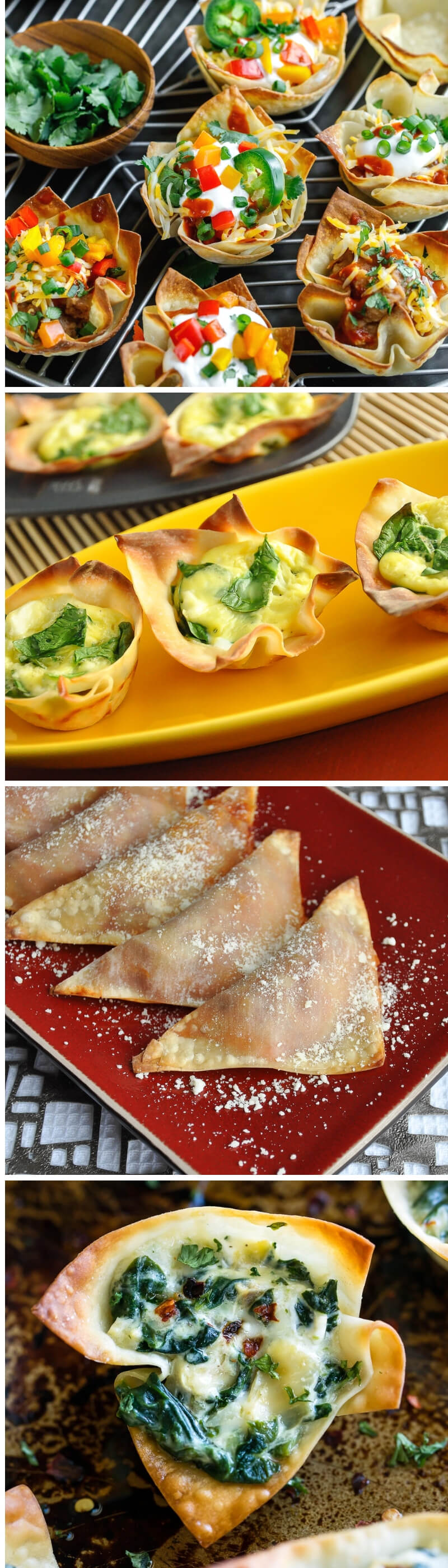 Today we're rounding up 10 tasty baked wonton recipes. Grab a package of wonton wrappers and get ready for some fast and flavorful appetizers! #wonton #party #appetizer #partyfood #snacks #vegetarian