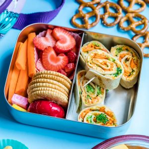 Cheese and Vegetable Hummus Tortilla Rollups