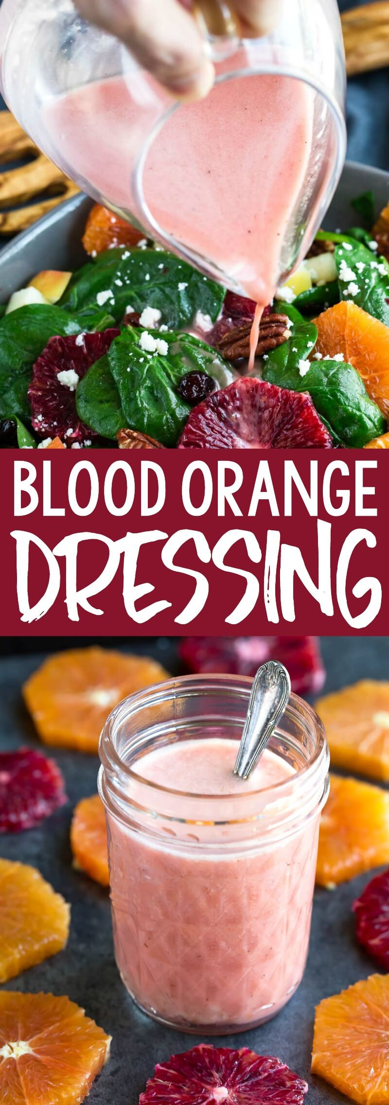 Jazz up your cool-weather salads with this deliciously easy Blood Orange Dressing! The ingredients are simple yet flavorful and ready to rock your salad! #dressing #saladdressing #bloodorange #orange #glutenfree #citrus #winterrecipes #salad #vegetarian