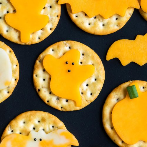 Halloween Cheese And Crackers And Carrot Pumpkin Cheeseball