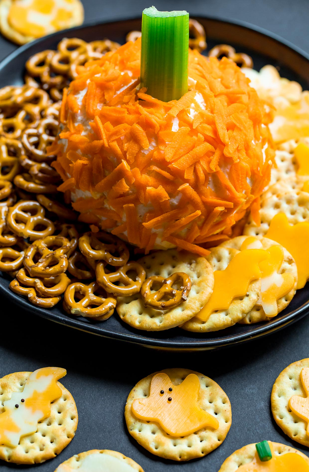 Pumpkin Cheese Ball and Halloween Cheese and Crackers