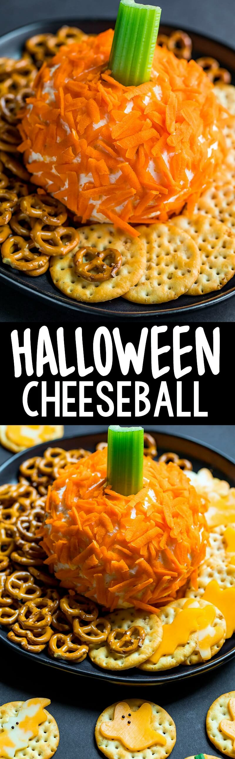 This Pumpkin Shaped Cheeseball and Halloween Cheese and Crackers are a fun and healthy way to treat your friends and family to an EPIC snack! Serve them up as an after school snack or as an easy party appetizer for all your Halloween party shenanigans! #halloween #party #partyfood #cheese #cheeseball #pumpkin #appetizer #snack
