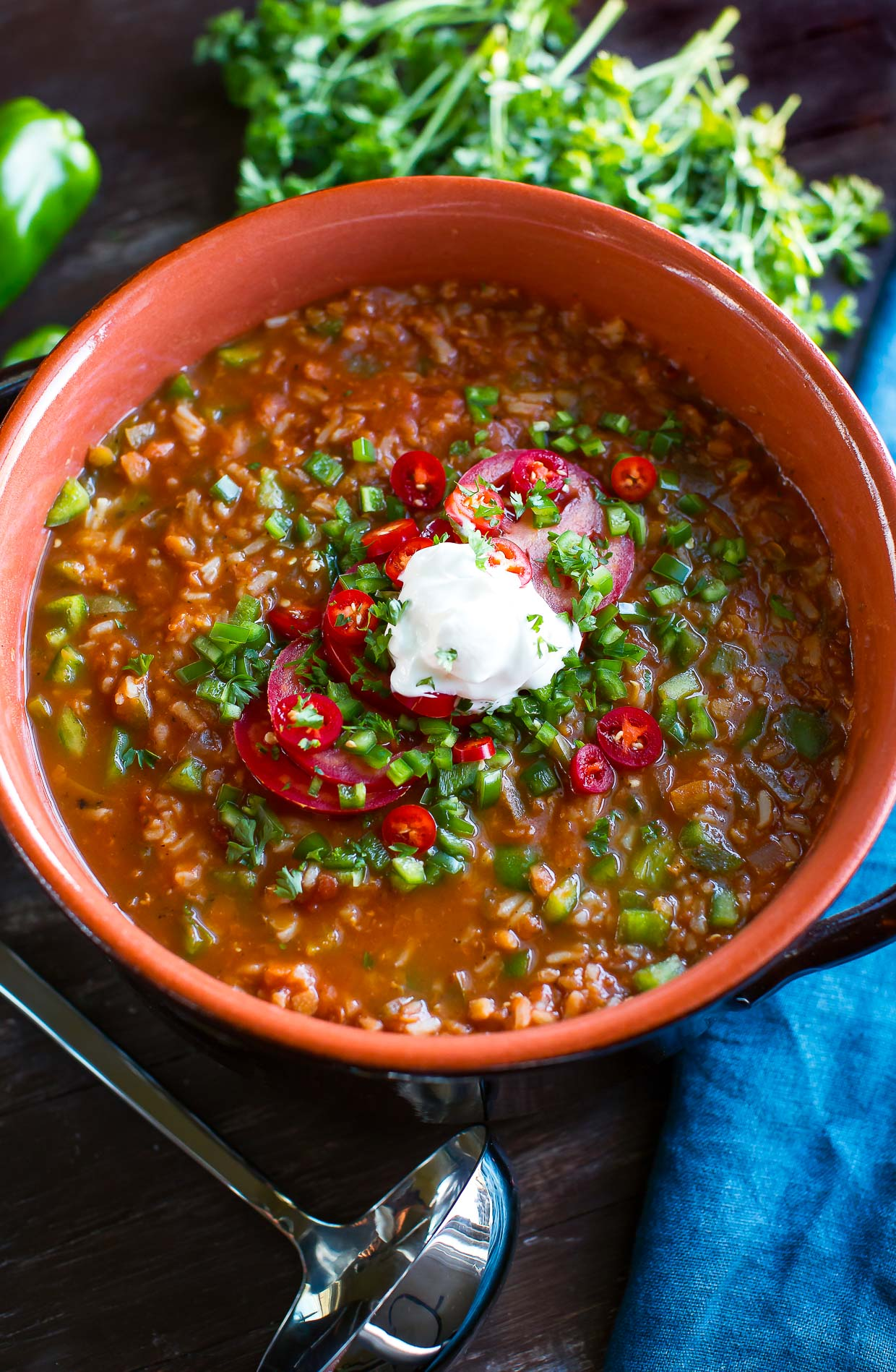Vegetarian Stuffed Pepper Soup (Stove Top and Slow Cooker)