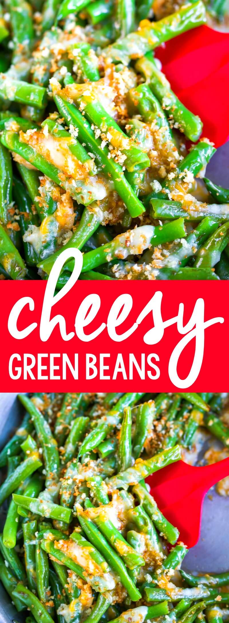 These cheesy green beans are a quick, easy, and totally delicious side dish! Whip them up to pair with your favorite fast and flavorful main course and say hello to a speedy weeknight dinner! #greenbeans #veggies #vegetarian #cheese #cheesy #garlic #sidedish #quick #easyrecipes