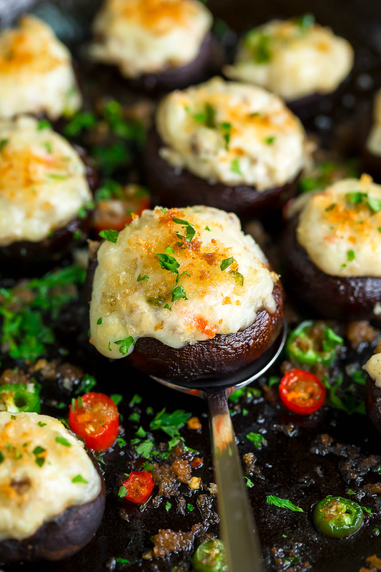 White Cheddar Jalapeño Cream Cheese Stuffed Mushrooms
