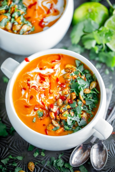 Thai Butternut Squash Soup with Chili Lime Cashews