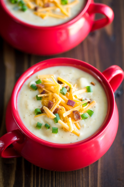 Creamy Potato Soup with Bacon and Cheddar