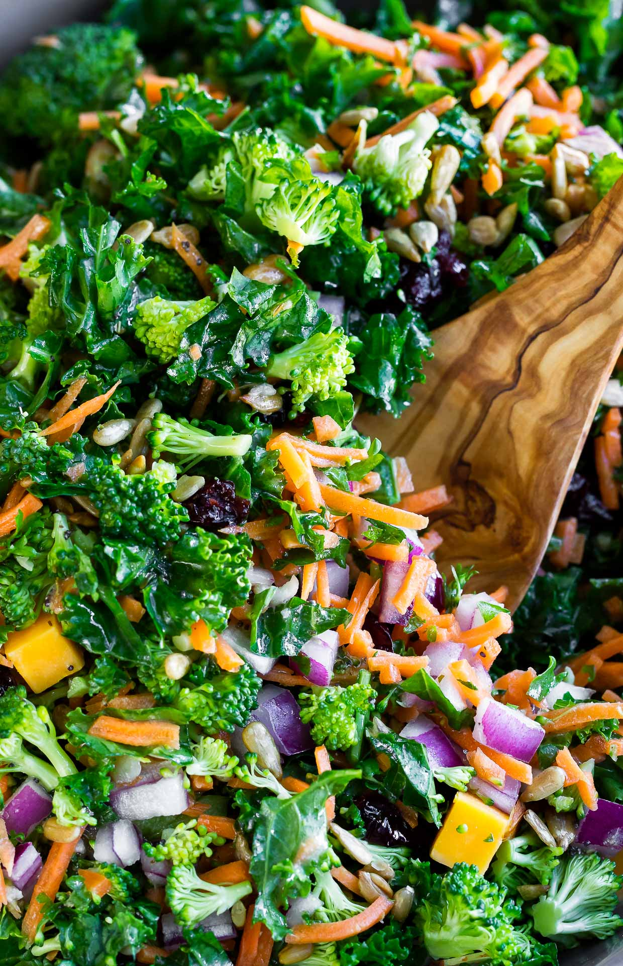Broccoli Kale Salad With Lemon Dressing Peas And Crayons