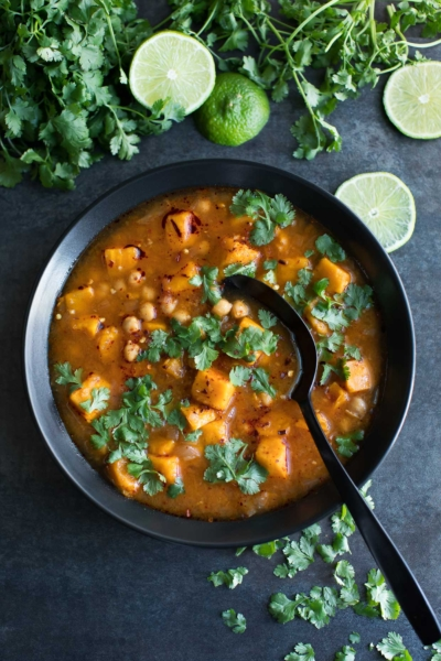 Spicy Moroccan Sweet Potato Soup - Instant Pot + Stove Top