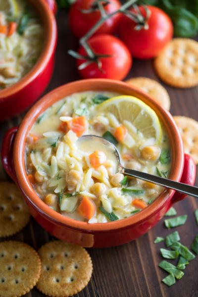 Chickpea Lemon Orzo Soup Recipe