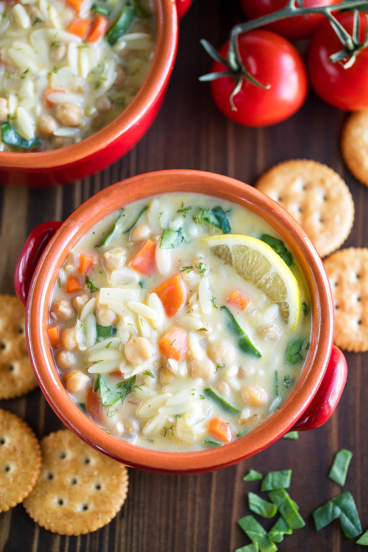 Lemon Orzo Soup with Chickpeas