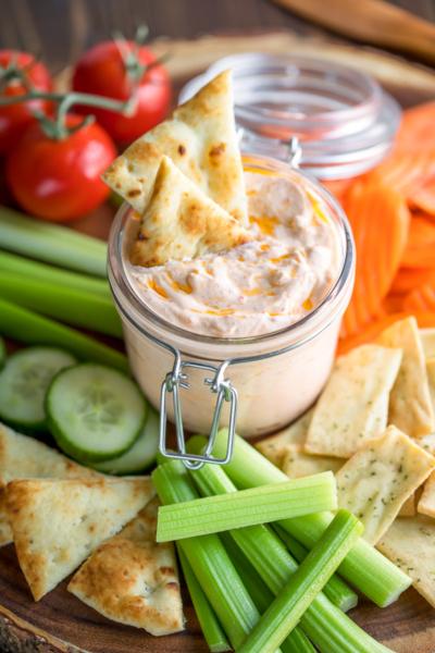 Harissa Yogurt Dip with Veggies and Pita