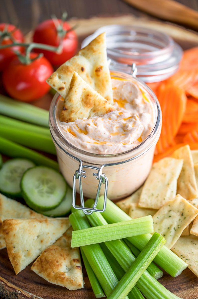 Cold Dip Recipes - Harissa Yogurt Dip with Veggies and Pita