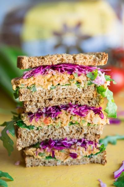 Vegan Buffalo Chickpea Sandwich on Angelic Bakehouse Sprouted Grain Bread
