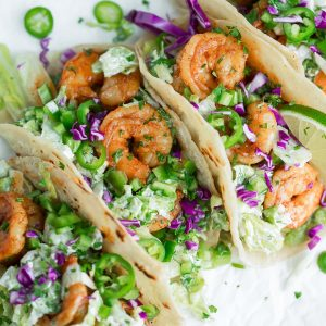 Cilantro Lime Shrimp Soft Tacos