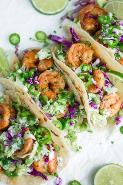 Cilantro Lime Shrimp Soft Tacos