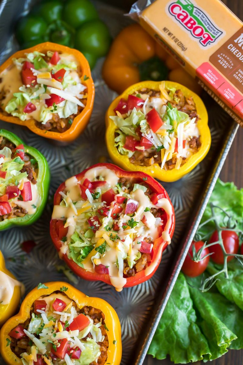 Cheeseburger Stuffed Peppers with Cabot Cheddar Cheese