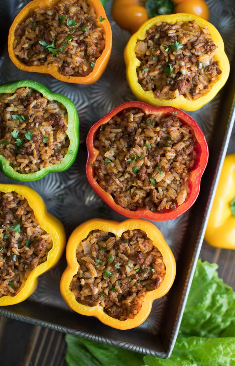 Cheeseburger Stuffed Peppers Before Toppings