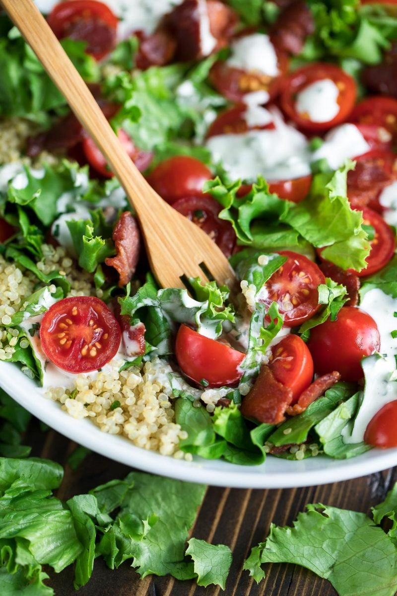 BLT Quinoa Salad with Fork