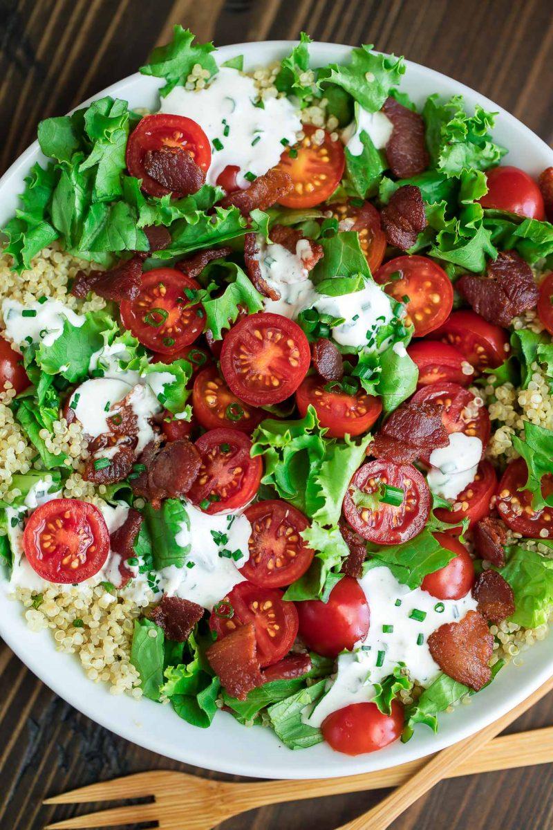 Quinoa Salad with Bacon, Lettuce, and Tomato