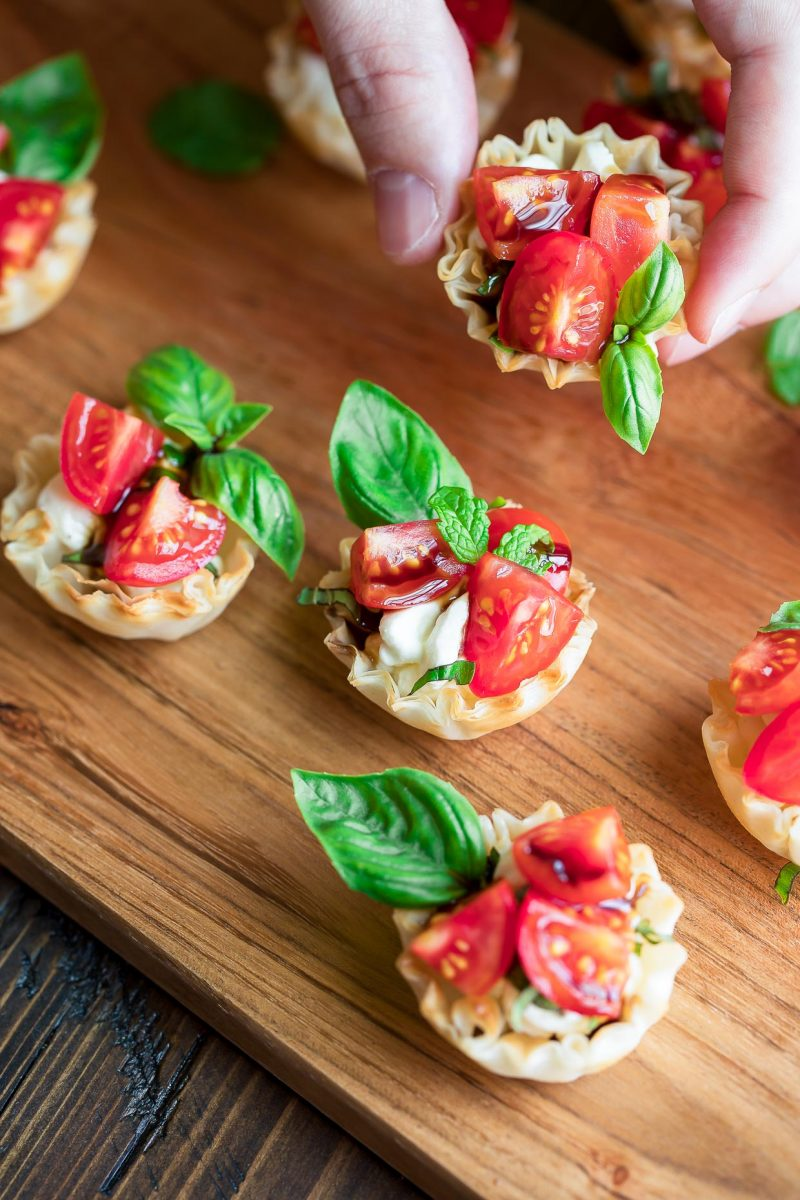 Bruschetta Phyllo cups with Balsamic Glaze