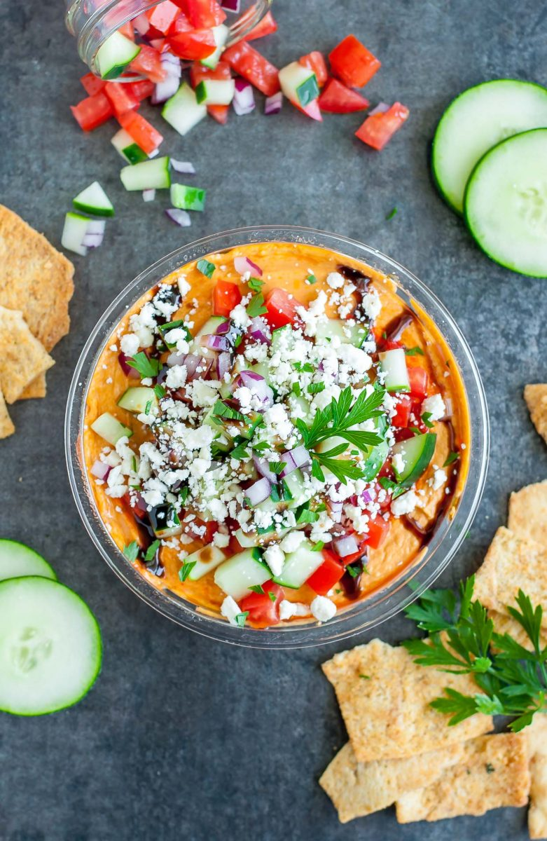 Layered Hummus Dip with Toppings