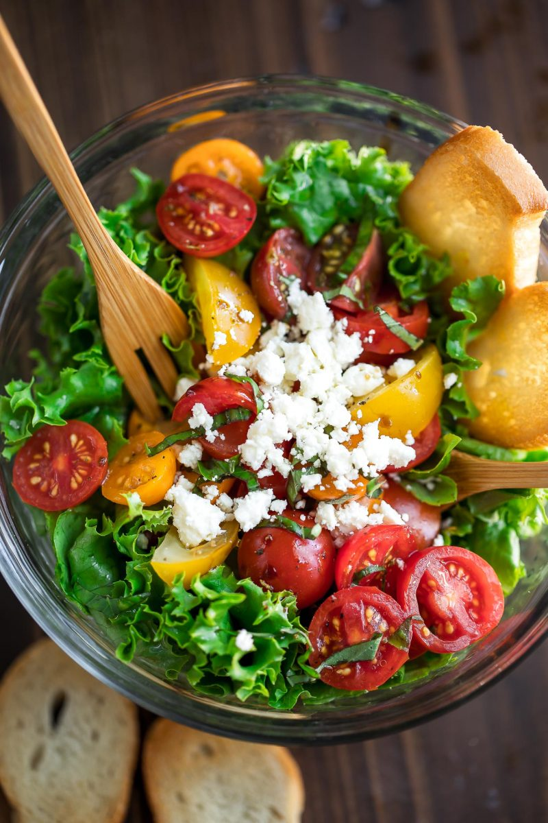 Tomato Bruschetta Salad with Feta Cheese